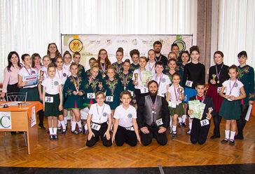 все ученики школы на соревновании в Москве