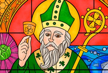 Изображение в виде мозаики. Изображен старый человек с бородой в зеленой рясе священника с зелёным головным убором, колокольчиком с эмблемой клевера и жезлом. Это Святой Патрик